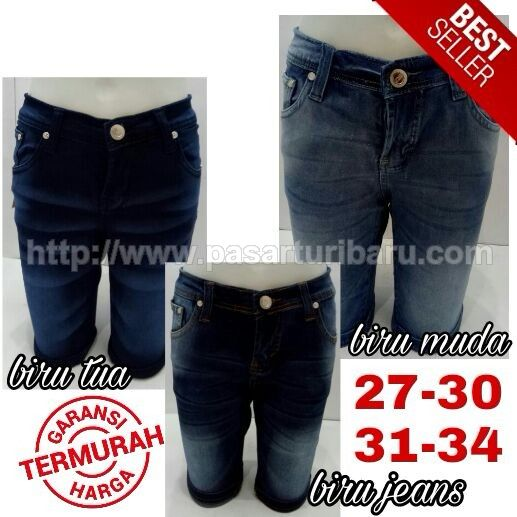 Celana Jeans 3/4 Wanita Whisker Soft Stretch Big Size 31-34